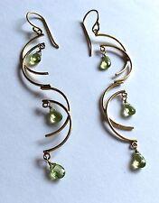 Modern sterling silver gilt long dangly pierced earrings, w peridots