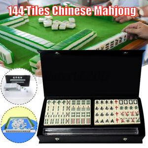 144 Tiles Mini Chinese Mah-Jong Traditional Mahjong Game Rare Box Ruler Set AU