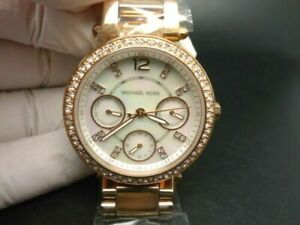 New Old Stock MICHAEL KORS Parker MK5616 Daydate Rose Gold Quartz Women Watch