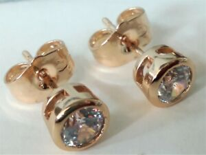 Earrings Solitaire With Gold Pink Laminated 18 Kgf