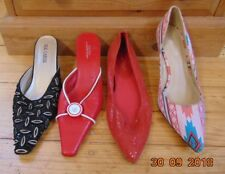 4 POINTY POINTED SHOES MULES RED BLACK MULTI-COLOUR COURT SHOES SIZE 6 37 VGC