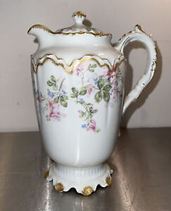 Haviland Limoges Rose Garland Chocolate Water Pot Double Gold Sweat Pea