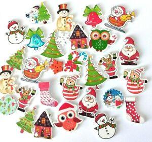 Christmas shaped buttons, wooden, 30pcs, Snowman-Santa-Craft-Cardmaking-UK