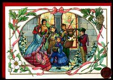 Vintage Hallmark Christmas Carolers Music - Embossed Greeting Card W/ Tracking