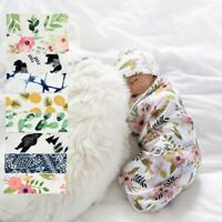 New 2Pcs/Set Newborn Swaddle Blanket Baby Cocoon Sleeping Bag Muslin Wrap Hat