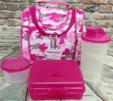 Tupperware New Spring Set Pink Camo Lunch Bag, Tumbler, Snack Cup, Bread Keeper