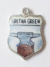 GRETNA GREEN     silver shield enamel travel charm picture of Blacksmith's Anvil