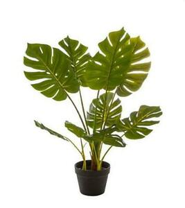 NEW ARTIFICIAL FAUX SPLIT PHILO TREE PLANT POTTED GREEN FAKE GREEN FLORAL DECOR