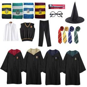 Harry Potter Gryffindor Ravenclaw Slytherin Hufflepuff Robe Cloak Tie Costume UK