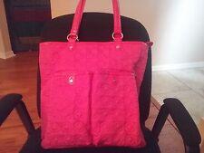 Vera Bradley XL Pink Microfiber Quilted Tote Shoulder Handbag VGUC