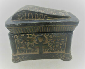 BEAUTIFUL ANCIENT EGYPTIAN BLACK STONE GLAZE SAFEBOX BOX WITH HEIROGLYPHICS