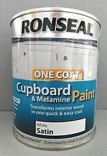 RONSEAL One Coat Cupboard Melamine & MDF Paint WHITE SATIN 750ml QUICK EASY COAT