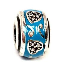 Brighton Heart & Scroll Stopper Bead, J9449A, Silver Finish, Turquoise, New