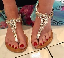Diamantes de imitación para mujeres Cristal Sandalia plana flip flop playa Gladiador Talla 40, 7 ❤