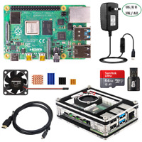 Raspberry Pi 4 Model B 2 4 8G RAM Starter Kit with 9-layer Case Fan 5V 3A Power