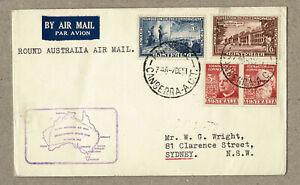 Australia 1951 Around Australia FFC Flight Cover cd Canberra B/S others