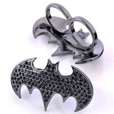Exaggerated Exquisite Gothic Punk Crystal Black Batman Alloy Ring Gift☆