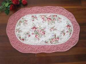 Shabby Red Rose Flower Patch Crochet Lace Cotton Quilted Oval Shape Mat Rug