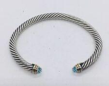 David Yurman Authentic Sterling Silver 14k Gold Faceted Blue Topaz 5mm Bracelet