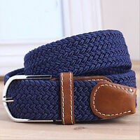 Checkout Men's Woven Stretch Braided PU Leather Buckle Belt Waistband LJ