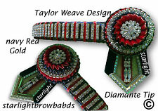 BROWBAND DIAMANTE CHAIN TAYLOR NAVY RED GOLD BY STARLIGHTBROWBANDS