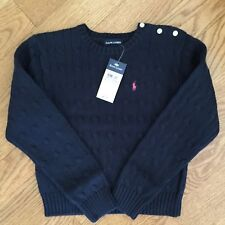 RALPH LAUREN girls 5 6 6x NAVY BLUE CableKnit sweaters NWT cotton PONY LOGO