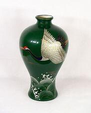Antique Japanese Ceramic Porcelain Hand Painted Cranes Vase