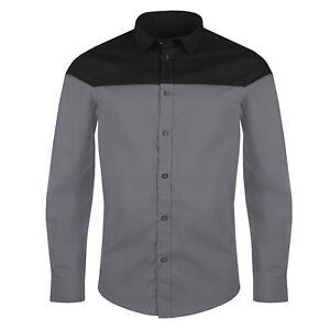 Mens Long Sleeve Shirt Button Up Smart Casual Formal Plain Contrast Dress Top