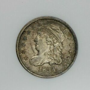 1834 Capped Bust Half Dime ANACS EF45 XF45 V-3 Old small holder So original! WOW