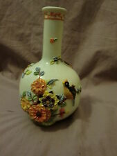 Very Pretty Sakiba Vase With Raised Design Quail and Flowers Signed Handpainted