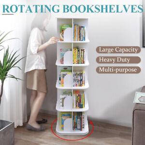 5 Tiers 360 Degrees Rotating Swivel Bookshelf Display Shelf White 159cm Square