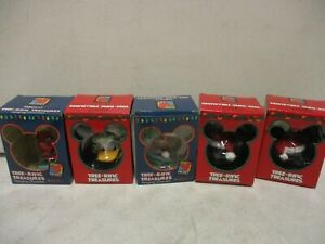 5 Enesco Mickey Unlimited Christmas Ornaments with Mickey and Donald