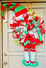 "X-Large 45"" Christmas Elf Deco Mesh Wreath Holiday Door Decor Hat & Legs"