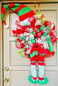 "X-Large 45"" Christmas Elf Deco Mesh Wreath Holiday Door Decor Hat & Legs"