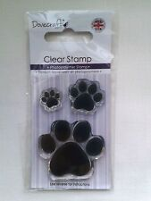 Dovecraft Clear Stamps cute puppy dog PAW PRINTS 3 stamps set (075)