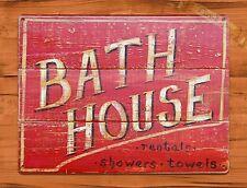"TIN-UPS TIN Sign ""Bath House"" Vintage Shop Ad Garage Store"