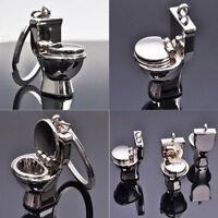 2017New 3D Closestool Key Chain Keyfob Keychains Creative Toilet Lovely Keyrings