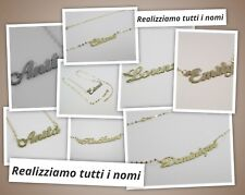 Collana con nome oro Bianco o Giallo 18 carati Realizziamo Qualsiasi scritta