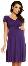 ZETA Ville Women's Pregnancy Maternity Long Sleeve Stretch V Neck Dress 285c Powder Pink UK 20