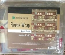"Scene Weaver Zip Blanket Fleece Wrap Throw Nordic Patch Lodge 67"" x 55"" Nip"