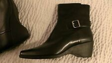 Womens NEW Anne Klein Desi Black Leather Ankle High Boots Booties Size 10M NWB