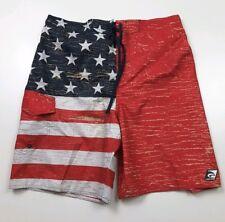 LAGUNA Mens Swim Trunks Board Shorts Flag Red White Blue Stars Stripes Size S