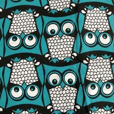 Owls Teal White Black Soft Flannelette Fabric 2.5 Yards Cute Baby Nursery Fabric