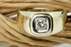 0,25 ct. Brillant Gold Ring 585 Gelbgold 14K Solitär 1 Brillant ca. VS1 H Gr 56