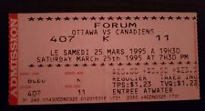 Ottawa vs Montreal Canadiens Ticket March 25 1995 Montreal Forum