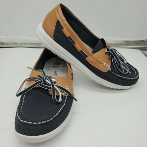 Clarks Womens Jocolin Vista Boat Shoes Size 8 M Navy Tan White Cloudsteppers