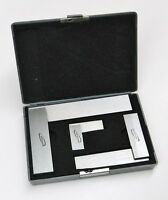 """3 - MACHINIST SQUARES 90º RIGHT ANGLE ENGINEER'S SET - 2"""" 4"""" 6"""" DIN STANDARD 875"""