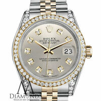 Unisex Rolex Stainless Steel & Gold 36mm Datejust Watch Silver Diamond Dial