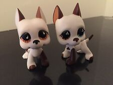 2-Littlest Pet Shop GREAT DANE Dogs #577 #750 White & Brown Rares USA Seller