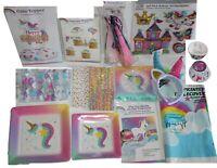 Rainbow Unicorn party supplies, headbands, party favors, pin de horn, napkins